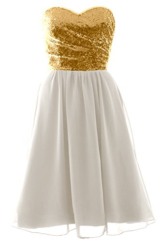 MACloth Elegant Strapless Short Bridesmaid Dress Sequin Chiffon Formal Gown Gold-Ivory