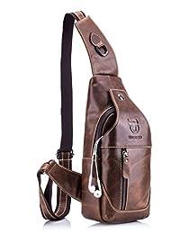 Sling bag,Bolso Hombres de pecho,Cuero genuino Crossbody,Bolso de hombro,Bolsos de mochila,Mochila Messenger Bag,Daypack para el negocio Casual
