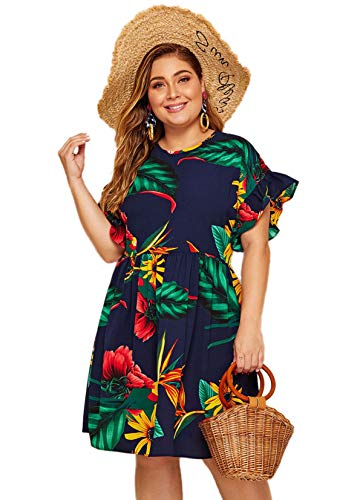 Milumia Women's Plus Size Tropical Leaf Print Ruffle Sleeve Pleated Short Dress Navy