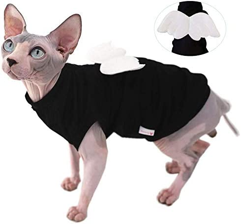 Sphynx Hairless Cat Cute Breathable Summer Cotton Dress Skirt Shirts with Wings Pet Clothes,Round Collar Kitten T-Shirts with Sleeves, Cats & Small Dogs Apparel 21