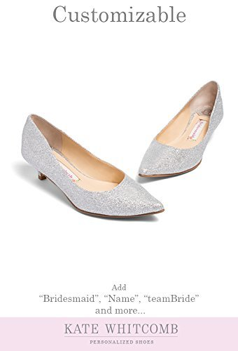 "Wedding Shoes Kitten Heel -""Patent-Pending"" personalization - Silver wedding pumps - Style Kim"