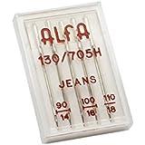 Alfa Vaqueros 90-100 - Estuche de 5 agujas para vaqueros Jeans 130/705 - Nº90 y Nº100, acero inoxidable