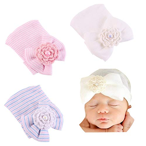 Preemie Newborn Hospital Hat Soft Cotton Baby Girls Head Wrap with Big Bow Cap Nursery Beanie
