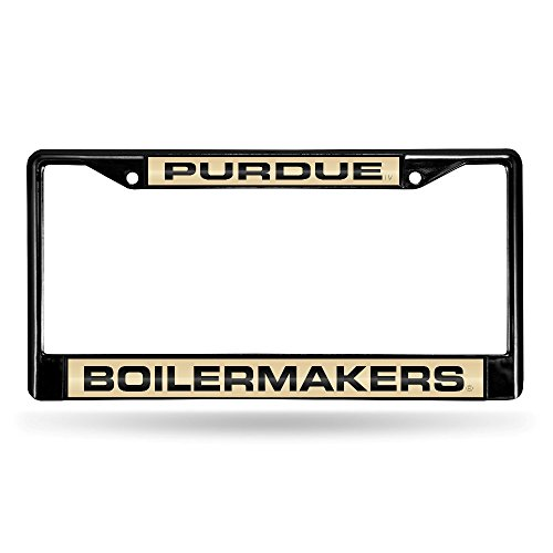 (Rico Industries NCAA Purdue Boilermakers Laser Cut Inlaid Standard Chrome License Plate Frame, 6