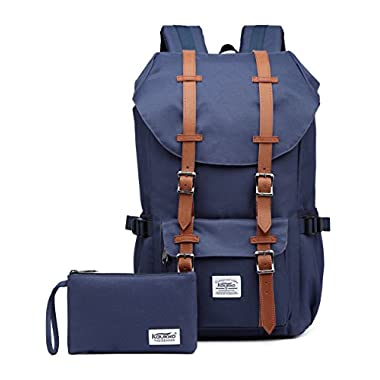 Laptop Outdoor Backpack, Travel Hiking& Camping Rucksack Pack, Casual Large College School Daypack, Shoulder Book Bags Back Fits 15  Laptop & Tablets by Kaukko (Nblue 2pcs)