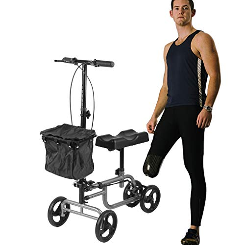 IOOkME-H Steerable Knee Walker Scooter Foldable Knee Crutch Alternative Adjustable Scooter for Foot Ankle Injuries with Basket(1)