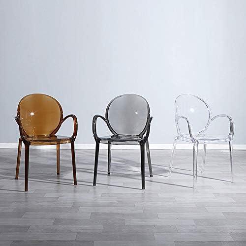 Chaise Transparente avec Accoudoir Tabouret en Plastique Cristal Dossier Amovible Chaise De Salle À Manger Maquillage Transparent Dressing Chaise Mode Chaise Antidérapante,4