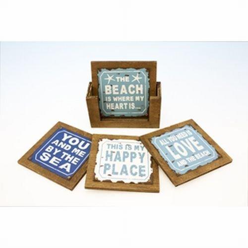 4-Beach-Sayings-Coasters-in-Wood-Holder