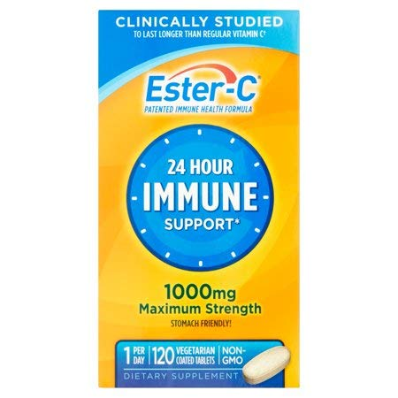 Ester-C Vitamin C 1000 mg Coated Tablets (Pack of 120), Vitamin C Supplement, for Immune System Support(1), Stomach-Friendly, Gluten-Free (Pack of 5) EIK$SjLH