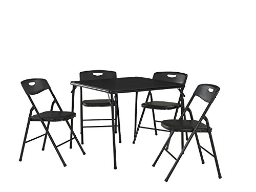 Cosco 37557BLKE 5-Piece Folding Table and Chair Set, Black (Table And Chairs Poker)