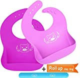 DREAM BEAR Waterproof Soft Silicone Baby Bibs,Easy Clean With Big Roll Up Pocket.Set of 2Pack (Pink/Purple)