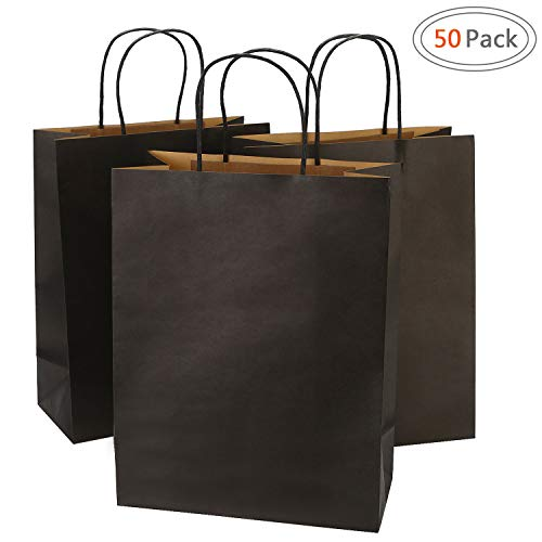 Road 10x5x13 Inches 50pcs Black Kraft Paper Bags with Handle, Gift , Shopping Bag, Merchandise , Party Bag -