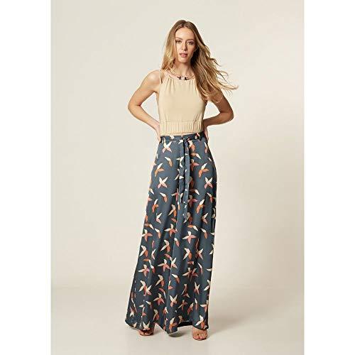 Calça Pantalona Estampa Floral Shade Chumbo - 40