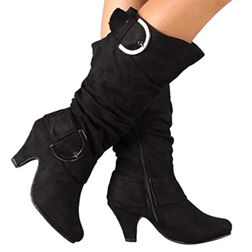 Rétro Talon Chaussures Mollet Bottes Cowboy Up Chaton Zip Booties Mi Basse Noir Bout Haute Genou Hibote Western Rond Femmes TqxFIqZO