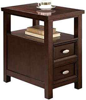 NEW Chairside End Table In Rich Espresso Cappuccino Oversized Drawer