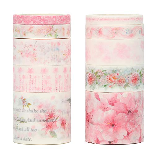 Molshine Floral Washi Masking Tape Set of 10, Spring Flower Decorative Sticky Paper Tapes for DIY Craft, Gift Wrapping, Bullet Journal, Planner, Scrapbooking (E)