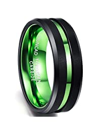 Nuncad Men's 8mm Green & Black Tungsten Carbide Ring Never Fade Matte Finish Beveled Grooved Wedding Band Size 7 to 16