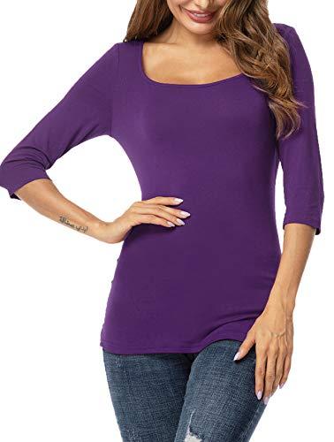 (UUANG Women's Modal Scoop Neck 3/4 Sleeve Tee Shirts Slim Fit Tops (Purple, Medium))