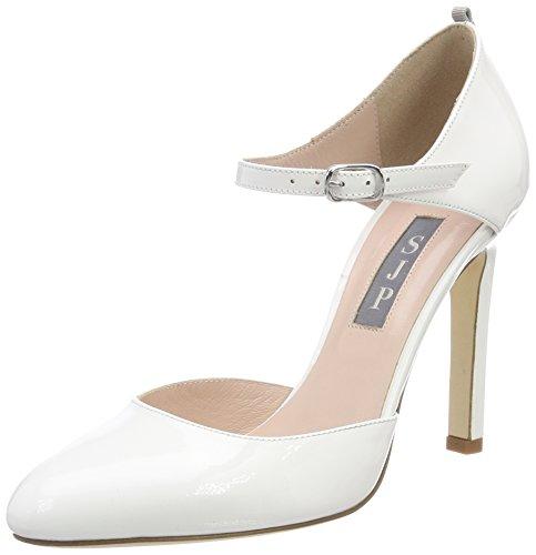 Jessica Zapatos de Tobillo Blanco Patent Tacon Campbell para Parker Sarah SJP y con Mujer by White Correa qw6CXXE
