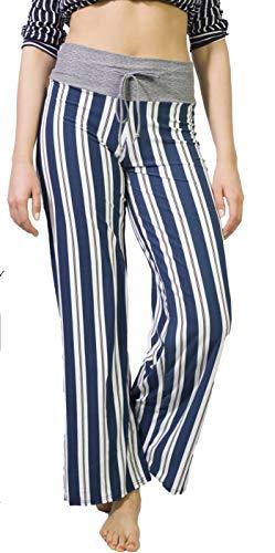 Women's Cotton Comfy Casual Pajama Pants Floral Print Drawstring Wide Leg Lounge Pants Stretch Palazzo Sleepwear Blue Stripe 2XL