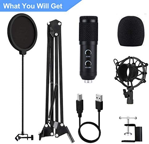 【2020 Upgraded】 USB Condenser Microphone for Computer, Great for Gaming, Podcast, LiveStreaming, YouTube Recording, Karaoke on Computer, Plug & Play, with Adjustable Metal Arm Stand, Ideal for Gift 41dJDhY 2BHDL