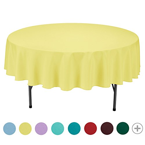 VEEYOO 90 inch Round Solid Polyester Tablecloth for Wedding Restaurant Party, Yellow (Round Yellow Table)