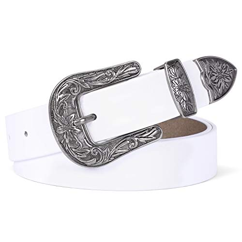 White Design Leather - Women Leather Belts Ladies Vintage Western Design Black Waist Belt for Pants Jeans Dresses