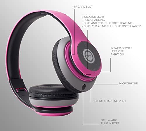 iJoy Matte Finish Premium Rechargeable Wireless Headphones Bluetooth Over Ear Headphones Foldable Headset with Mic (GLM)