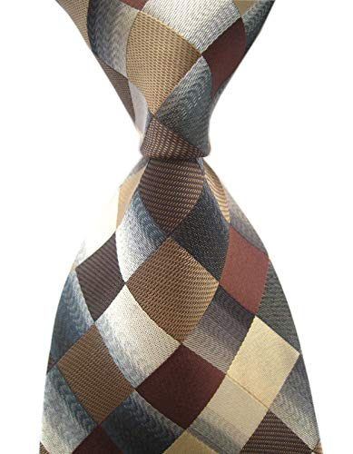(Elfeves Men's Classic Designer Plaid Ties Checks Patchwork Necktie Brown Grey)
