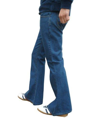 Mens Denim Bell Bottom Flares Vintage Retro Jeans Pants Stonewash ...