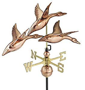 "Good Directions 28"" 3 Geese in Flight Weathervane, Pure Copper"