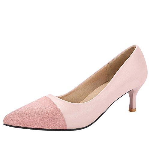 Charm Foot Womens Elegant Pointed Toe Mid Heel Pumps Shoes Pink X4kKAXNCAk