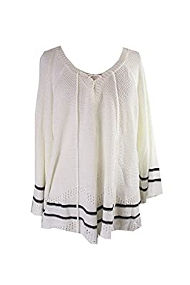 NY Collection Womens Plus Lace-up Pointelle Tunic Sweater Ivory 3X