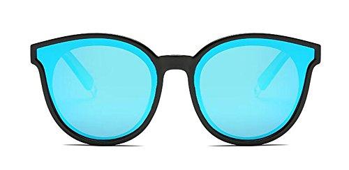 Métallique Pour Cercle Steampunk et Femmes du de Bleu Glacier Rond Inspirées Hommes Polarisées Retro Style Lunettes en Soleil 7vqwz