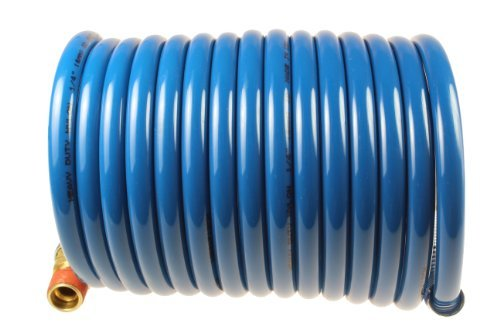 Coilhose Pneumatics S14-12B Stowaway Heavy Duty Nylon Coiled Air Hose, 1/4-Inch ID, 12-Foot Length with (2) 1/4-Inch MPT Swivel Fittings by Coilhose ()