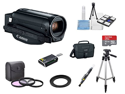 Canon VIXIA HF R82 A KIT + 3PC Filter Kit + 2 Tripods + 32GB microSD Card + Step up adapter ring + Camera Bag + Card Reader + 6PC Cleaning Kit + 2-in-1 Lens Cleaning Pen by Hawthorne
