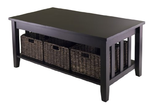Winsome Morris Coffee Table With 3-Foldable Basket Features