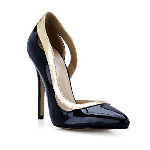 Klicken in Sie auf Frauen fallen neue Produkte in Klicken die Arbeit des high-heel Schuhe groß, schwarz lackiertes Leder Schuh Punkte schwarz 245c97