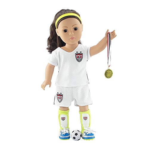 18 Inch Doll Clothes | Team USA-Inspired 8 Piece Soccer Uniform, Including Shirt and Shorts, Socks, Ball, Shin Guards, Headband, Gold Medal and Amazing Soccer Shoes/Cleats | Fits American Girl Dolls -