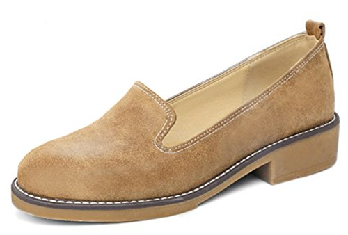 Shoes Chunky Low Heels Oxfords Yellow IDIFU Low On Women's Slip Classic Top vqwZg1Z