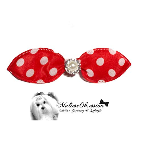 MalteseObsession Cutie Patootie Hair Bow Crystal Pearl - Korean Style Hair Jewel for Maltese (Dotted Rosy ()