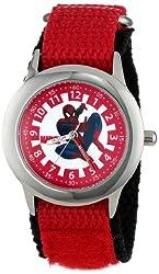 Marvel Kids' W000312 Marvel Spider-Man Stainless Steel Time Teacher Red Nylon Strap Watch