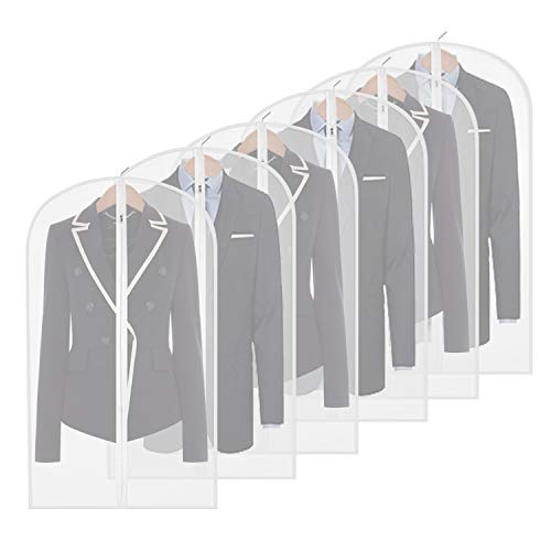 homeminda Garment Bag Clear,40 inch Suit Bag Moth Proof Dust Cover Bags White Breathable Full Zipper for Clothes Storage Closet Pack of 6