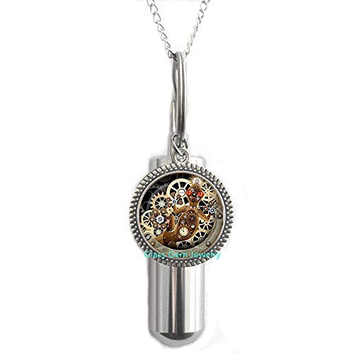 Steampunk Lizard Cremation URN Necklace,Gecko Glass URN Mechanical Clock Round Glass Dome URN Cremation URN Necklace s Jewelry,Q0126