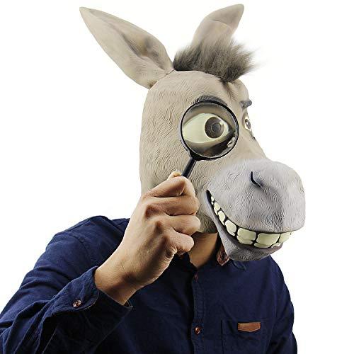 Animal Head Mask Horror Donkey Head Halloween Latex Costume -