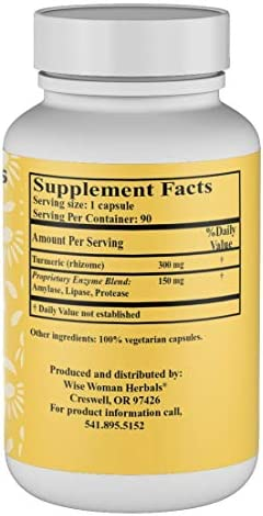 Wise Woman Herbals Turmeric Complex Plus Enzymes 90 Capsules All-Natural Curcumin Joint Health Support Aids normal healthy digestion Promotes healthy immunity for overall well-being