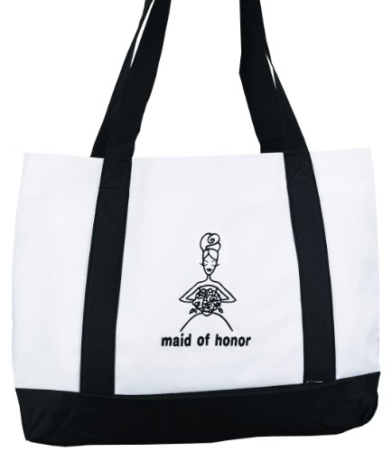 Price comparison product image Hortense B. Hewitt Wedding Accessories White Canvas Tote Bag,  Maid of Honor