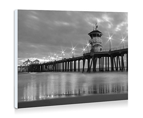 Huntington Beach Pier - Art Print Wall Art Frameless Decorative Painting - Black and White - Ready To Hang - 16x12 Inches