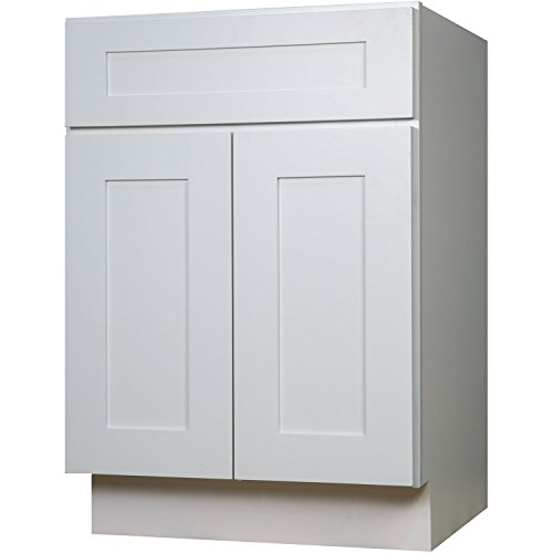 White Shaker Wood Vanity Cabinet (Everyday Cabinets 36 Inch Bathroom Vanity Single Sink Cabinet in Shaker White with Soft Close Doors)