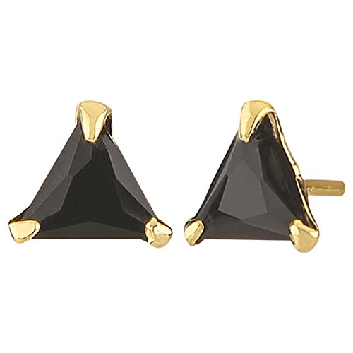 - Efulgenz Stud Earrings 14 K Gold Plated Hypoallergenic Cubic Zirconia Triangle 6 mm Black Studs Pierced